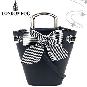 London Fog Navy Sussex Bucket Small Tote Bag